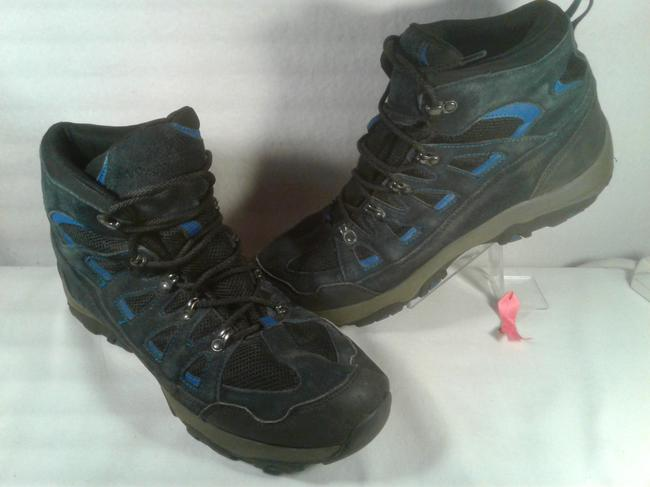 Item - Black W/Blue Accent Stripes Men's Leather Suede Lace-up Outdoor Rugged 11.5m Shoes