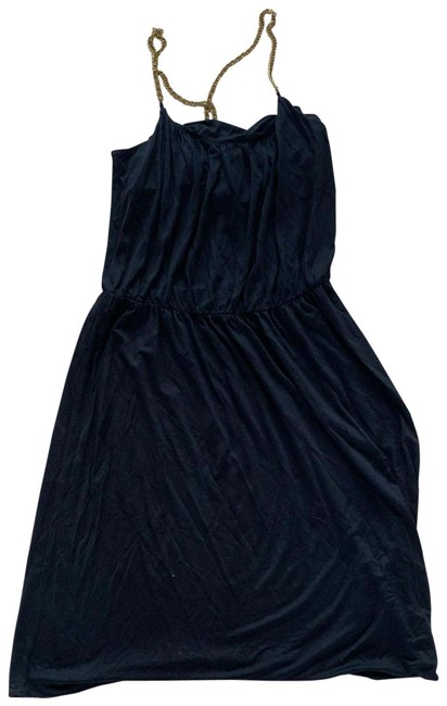 Item - Black and Gold Silk Chain Strapped Small Mid-length Cocktail Dress Size 2 (XS)