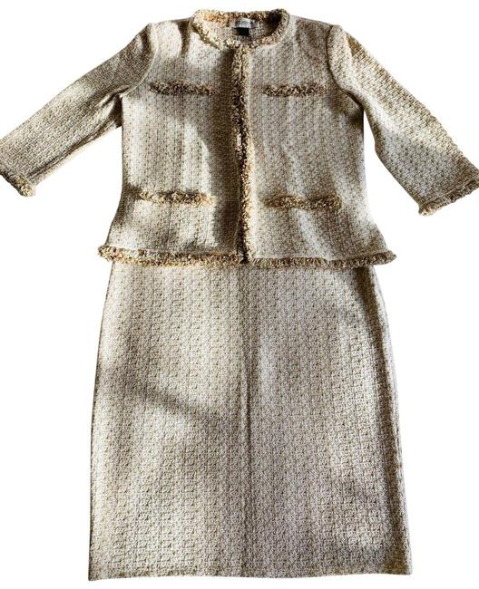 Item - Cream Gold Tweed Knit Jacket Skirt Suit Size 4 (S)