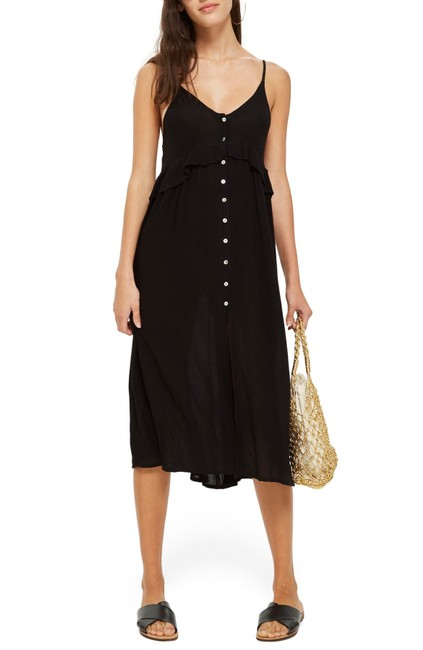 Item - Black Women's Midax Button Through Cover-up Small - Mid-length Casual Maxi Dress Size 4 (S)