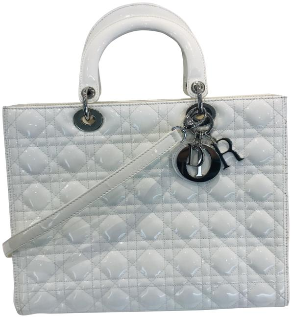 Item - Lady Lambskin Cannage Large White Patent Leather Tote