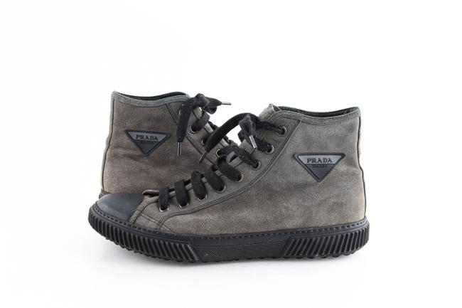Item - Gray Stratus Suede High-top Sneakers with Triangle Logo Shoes