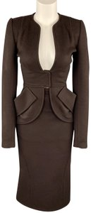 Zac Posen ZAC POSEN Size 2 Brown Felt Collarless Fishtail Pencil Skirt Suit