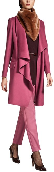 Item - Pink Fuchsia Tie Belt Wool Coat Size 16 (XL, Plus 0x)