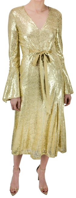 Item - Golden Vneck Bell Sleeve Ribbon Tie Sequin Long Night Out Dress Size 2 (XS)