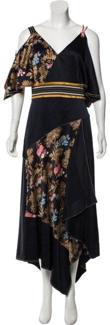 Item - Multiple Layered Scarf Edge Printed Silk Long Night Out Dress Size 10 (M)