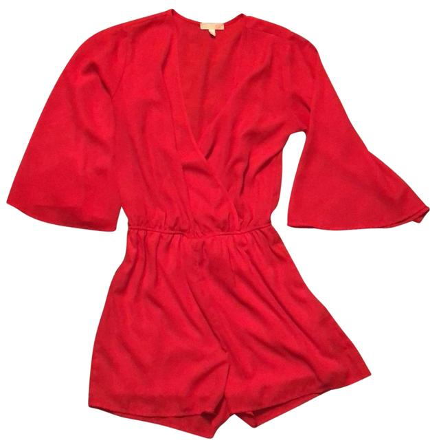 Item - Red V Neck Wrap Front Holiday Romper/Jumpsuit