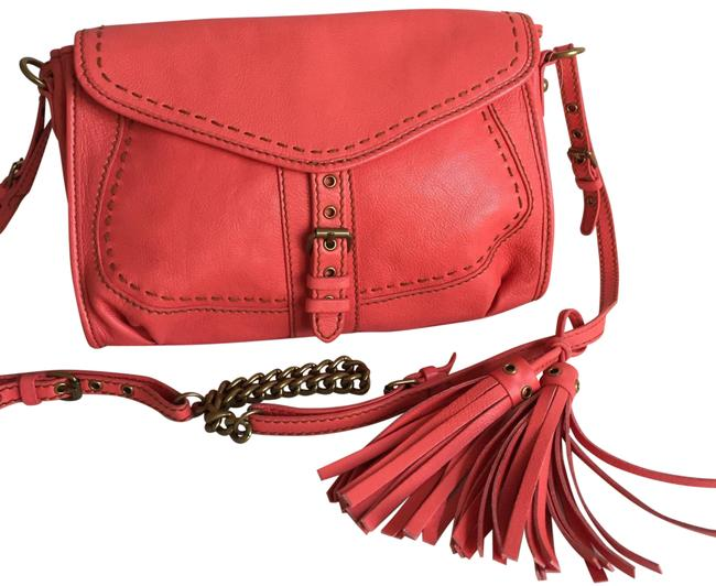 Item - Flap Over Tassel Coral Leather Cross Body Bag