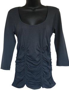 Last Tango 3 Panel Ruched Blouse Shirt Flattering Fit Top Grey