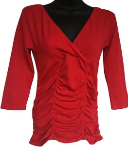 Last Tango Double V Neck Rouching Blouse Shirt Top Red