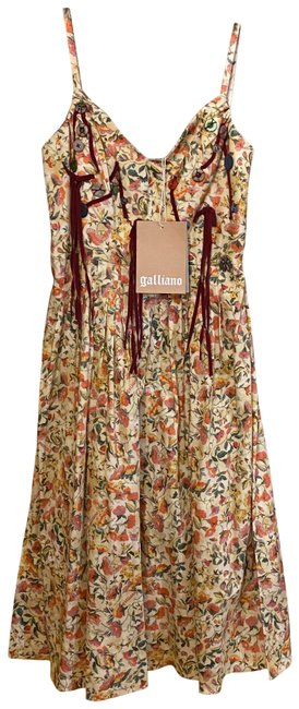 Item - Yellow Spaghetti Straps Floral Mid-length Night Out Dress Size 8 (M)