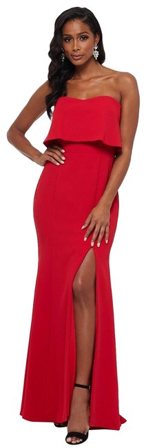 Item - Red Strapless Popover Evening Gown Long Formal Dress Size 0 (XS)