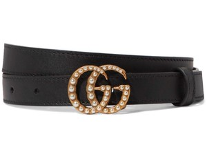 Gucci Black Marmont Size 85 Gg Pearls Double G Buckle Leather Belt