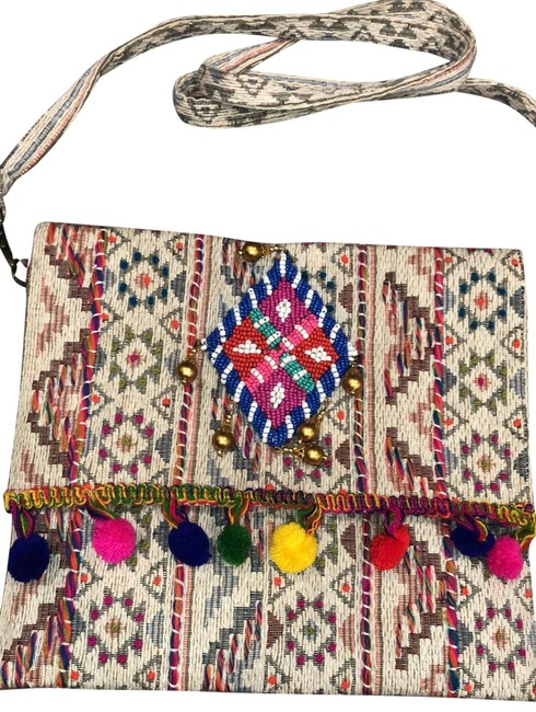 Item - Beaded Pom Pom Purse Cross Body Bag