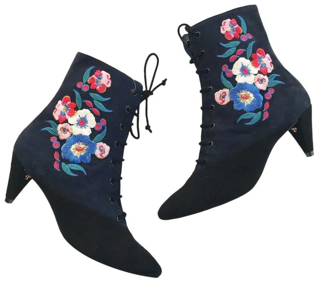 Item - Blue/Black Embroidered Suede Cassidy Boots/Booties Size US 10.5 Regular (M, B)