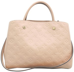 Louis Vuitton Lv Montaigne Calfskin Mm Satchel in Beige