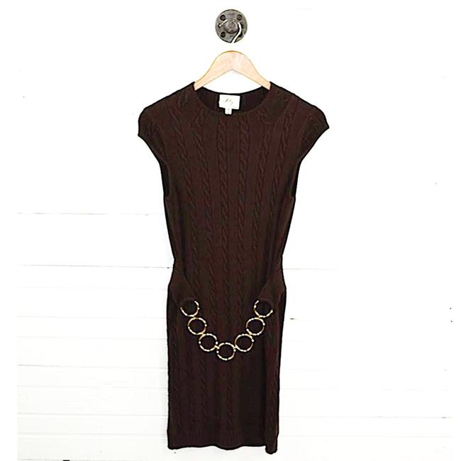 Item - Brown/ Gold Belted Sweater #186-94 Short Work/Office Dress Size 0 (XS)
