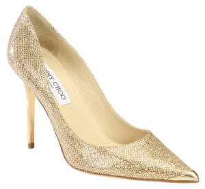 Jimmy Choo Glitter Metallic Captoe Gold Pumps