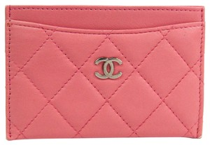 Chanel Chanel Matelasse A31510 Leather Card Case Pink