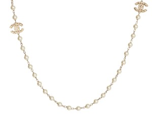 Chanel GOLD TONE LOGO AND PEARL LONG NECKLACE
