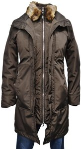 Post Card Fur Insulated Down Puffer Coat