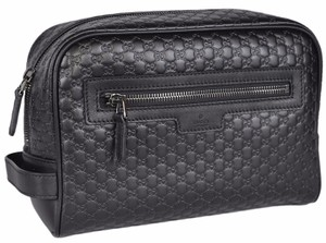 Gucci New Gucci Men's 419775 Black Leather Micro GG Large Toiletry Dopp Bag