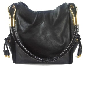 Michael Kors Collection Pebbled Leather Gold Detail Satchel in Black