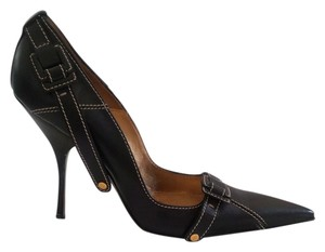 Cesare Paciotti Leather Studded Sexy Versatile Cushioned Black Pumps