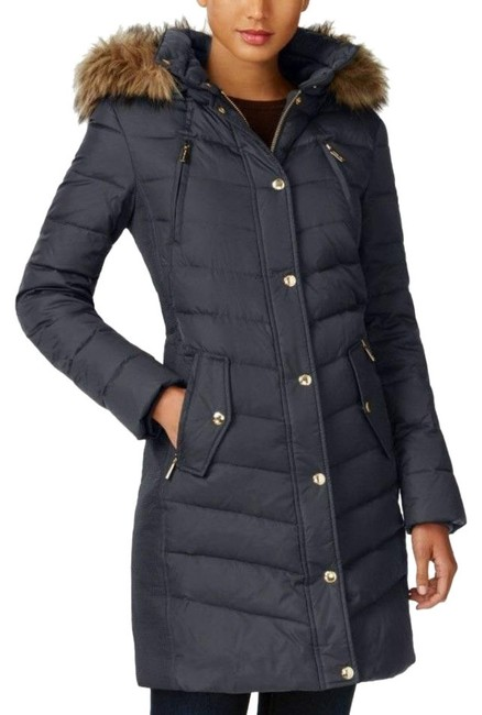 Item - Gray Puffer with Fur Trimmed Hood Coat Size Petite 2 (XS)