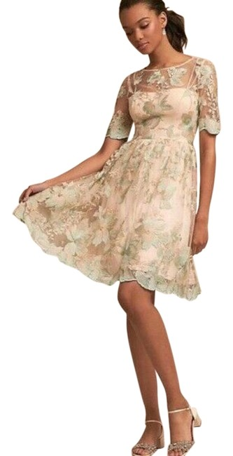 Item - Tan / Blue Embroidered Party with Sheer Elbow Sleeves Short Formal Dress Size 2 (XS)