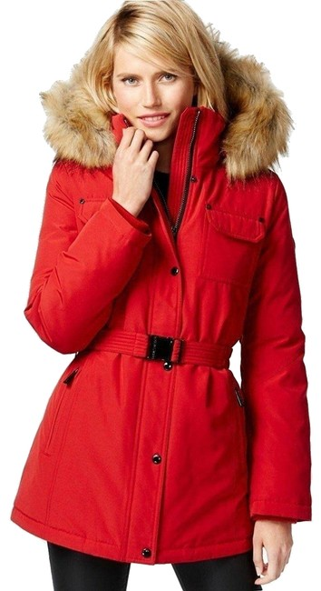 Item - Red Puffer with Fur Trimmed Hood and Belt Coat Size 16 (XL, Plus 0x)