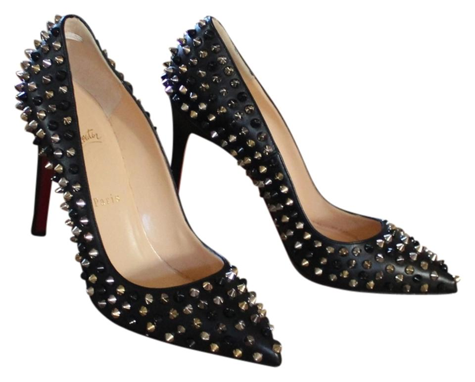 4b918e97356a Christian Louboutin Black Pigalle Spikes 100 Nappa Leather Pumps ...