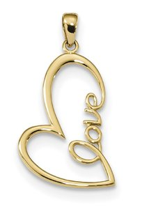 Apples of Gold POLISHED LOVE HEART PENDANT, 14K GOLD