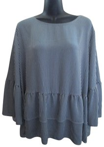 Time and Tru Striped Ruffled Bell Sleeve Xxl 2xl Top Multicolored