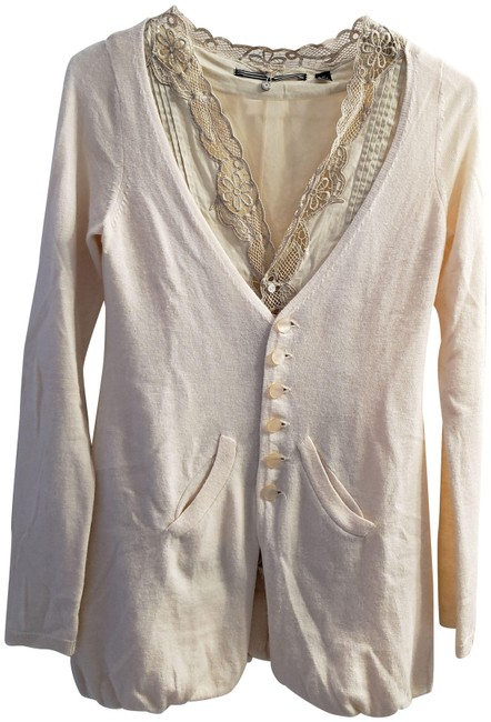 Item - Cream Knitted Knotted Double Layer Sweater Lace Layered Cardigan Size 2 (XS)
