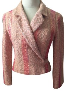 Chanel Vintage Metallic Piping Tie Feature Unusual Color Salmon Blazer