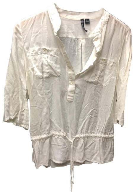 Item - White Just Cleaned Mid Length Blouse Size 4 (S)