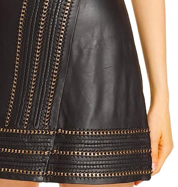 Item - Black with Tag W Jaya Leather W/ Chain Trim Skirt Size 10 (M, 31)