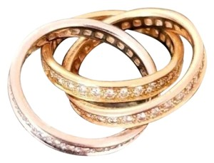 Cartier Authentic Cartier Diamond Trinity White/Pink/Yellow Gold 18K Rolling Ring 52size