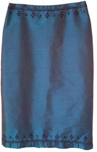 Ann Taylor LOFT Raw Silk Beaded 10 Skirt iridescent blue