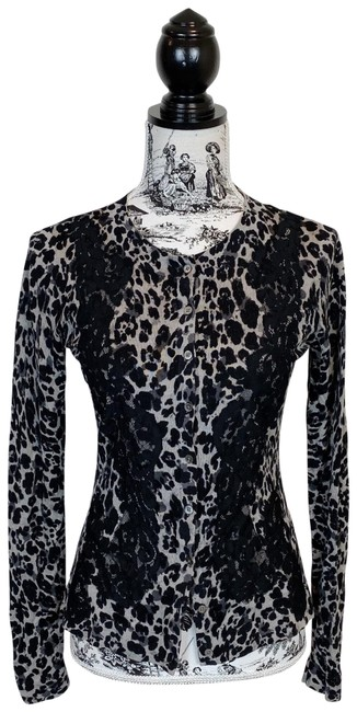 Elie Tahari Gray Joss Leopard and Lace Cardigan Size 4 (S) Elie Tahari Gray Joss Leopard and Lace Cardigan Size 4 (S) Image 1