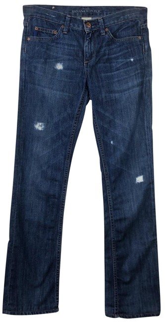Item - Blue Distressed Br Ripped Holey Low Straight Leg Jeans Size 26 (2, XS)