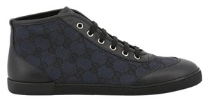 Gucci High Top Sneakers Canvas Monogram Leather Blue Flats