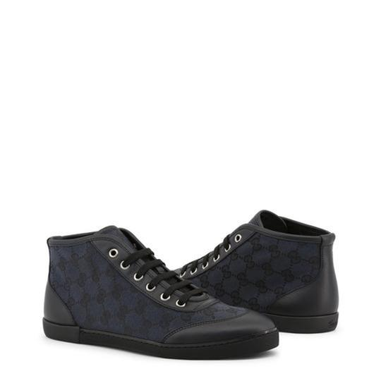 Gucci High Top Sneakers Canvas Monogram Leather Blue Flats Image 1