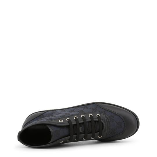 Gucci High Top Sneakers Canvas Monogram Leather Blue Flats Image 2