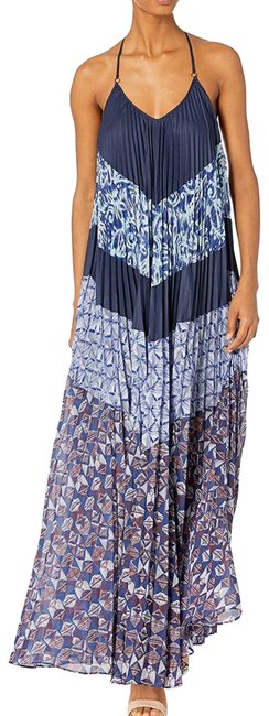 Item - Navy Juna Print Block Pleated Long Casual Maxi Dress Size OS (one size)
