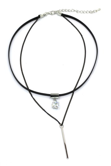Preload https://img-static.tradesy.com/item/26408739/silver-double-chain-square-crystal-choker-necklace-0-0-540-540.jpg