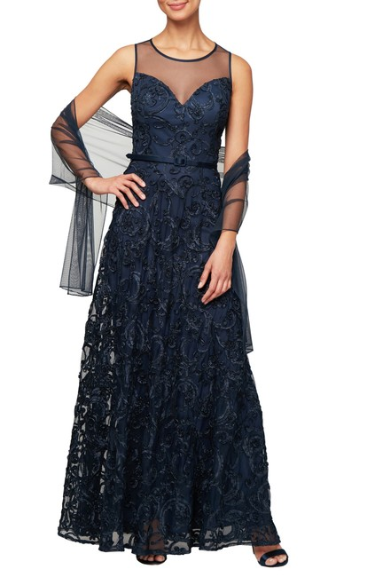 Preload https://img-static.tradesy.com/item/26408807/alex-evenings-navy-illusion-sleeveless-embroidered-gown-with-shawl-long-formal-dress-size-10-m-0-1-650-650.jpg