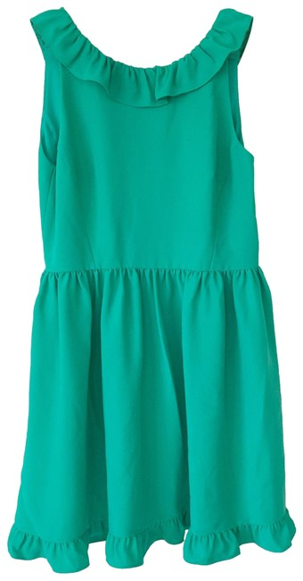 Preload https://img-static.tradesy.com/item/26408812/kate-spade-green-ruffle-back-short-cocktail-dress-size-12-l-0-1-650-650.jpg