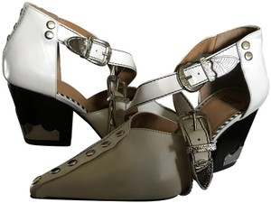 TOGA Pulla Ankle Leather Hardware Strappy White/silver Boots
